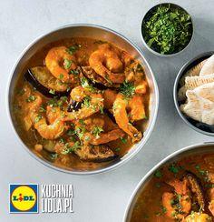 Krewetki w czerwonym curry. Kuchnia Lidla - Lidl Polska #okrasa #krewetki #curry Lidl, Seafood, Curry, Cooking, Ethnic Recipes, Sea Food, Kitchen, Curries, Brewing