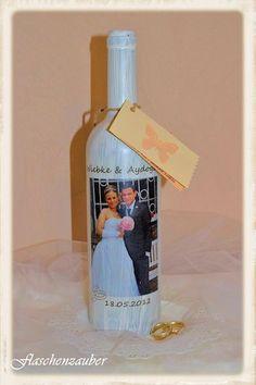 """Hochzeitsgeschenk Fotoflasche """"Hochzeit"""" von Flaschenzauber auf DaWanda.com"""