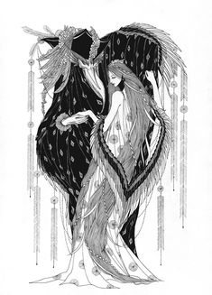 Marina Mika Illustration, The Heron and the Crane - (folktale) Ink Illustrations, Illustration Art, Fairy Tale Illustrations, Botanical Illustration, Arte Grunge, Arte Obscura, Gravure, Ink Art, Art Inspo