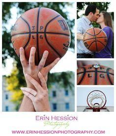 Basketball themed engagement shoot! http://erinhession.com/2014/09/19/laura-jon-engaged/