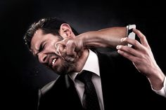 Angry Call - Employee gets punched through smart phone by angry caller for bad service.