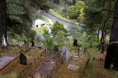 Hidden in a narrow valley in eastern Victoria is a town called Walhalla. Gold was discovered there mid last century.   The cemetary is built on the side of the valley because of the lack of space. A lot of graves contain those killed in mine accidents or children who died at an early age as they did back then.  It reminded me of the cemetary at Deadwood in South Dakota