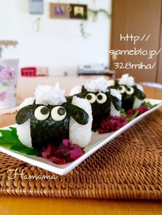 ひつじのショーンおにぎり♡りんご病〜素敵便♡ Sushi For Kids, Bento Box Lunch For Kids, Bento Kids, Japanese Food, Japanese Lunch, Cute Food, Good Food, Onigiri Recipe, Bento Recipes