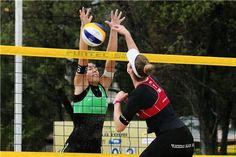 Italy's Viktoria Orsi Toth (left) and Switzerland's Nicole Eiholzer duel at the net