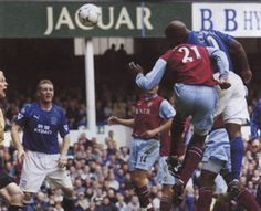 26 April 2003 Kevin Campbell leaps to meet a Gary Naysmith cross and head home Everton's first against Villa