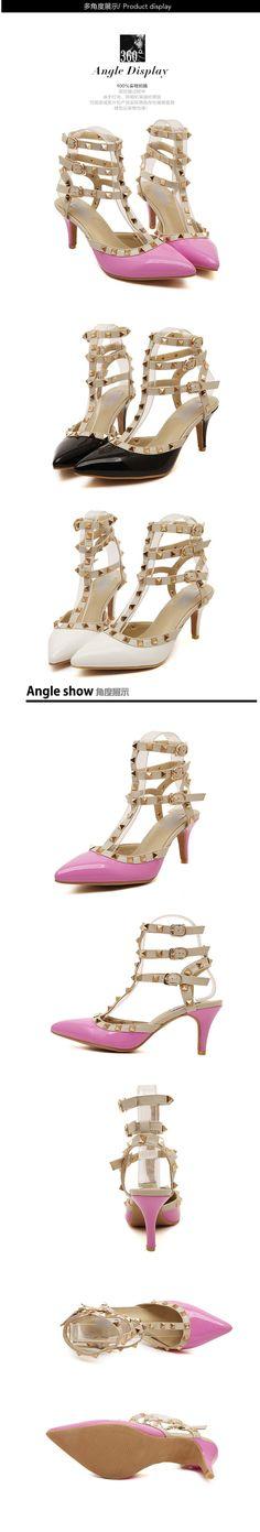 2015 Hot Women summer Pumps Ladies Sexy Pointed Toe High Heels Fashion Buckle Studded Stiletto High Heel Sandals Shoes 5C08 | #STILETTOHEELS