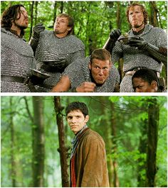 [gifset] knights: amnomnomnom this is so YUMMY Merlin: I'm surrounded by idiots....
