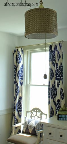 At Home on the Bay: Ikat Curtains. Want curtains like this for the living room! Ikat Curtains, Cute Curtains, Hallway Curtains, Bedroom Curtains, Drapery, Tissu Ikat, Interior Decorating, Interior Design, Decorating Ideas