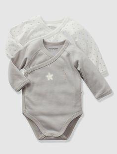 Lot de 2 bodies bébé naissance personnalisables BLANC+CIEL+GRIS CLAIR+PARME+ROSE PALE - vertbaudet enfant