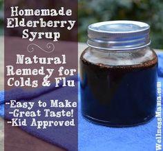 Homemade Elderberry Syrup Natural Remedy for Colds and Flu How to Make Elderberry Syrup for Flu Prevention #Coldandflutips