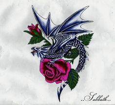 Dragons And Roses Tattoos Dragon with roses by