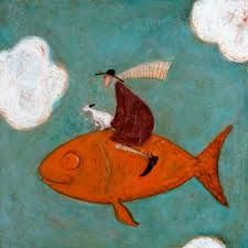 'It's a lo-o-ong way down Doris' by Sam Toft English Artists, Naive Art, Fish Art, Whimsical Art, Dog Art, Lovers Art, Folk, Illustration Art, Drawings
