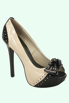 Black & Beige Patent Peep Toe Pumps - Oh soooo cute!