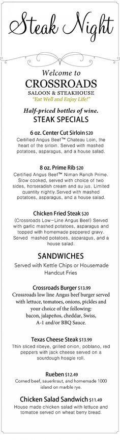 Steak Night | Fredericksburg, Texas | Crossroads Saloon & Steakhouse | Steak Night Menu