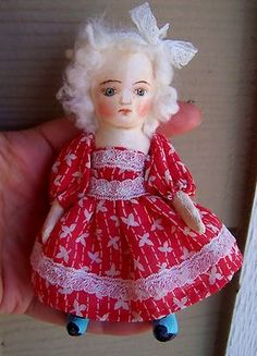 "little 5"" oil painted cloth doll , antique style, by Sue Sizemore"