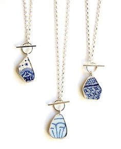 Simple pottery shard pendants - made from pottery shards found on the banks of the Thames in London