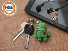 Crochet Android Keychain Amigurumi Android by dsMouseBears on Etsy