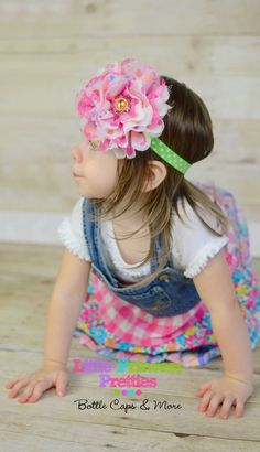 Polka Dot Party Chiffon & Lace 5 inch Flower Headband Teens Girls Infants Photo Prop Bling - pinned by pin4etsy.com