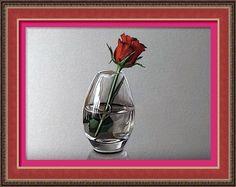 Dessin et peinture - vidéo 2287 : Comment dessiner ou peindre une rose rouge dans un vase transparent (soliflore)?