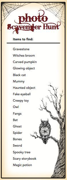 Halloween Scavenger Hunt for children and adults. Free Printable | Sparkler http://sparklerparties.com/free-halloween-party-game-printables/