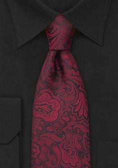 Wine-Red Necktie With Paisleys