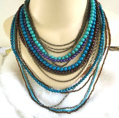 Multi Strand Beaded Necklace Vintage Shades of Blue & Purple by MyVintageJewels on Etsy