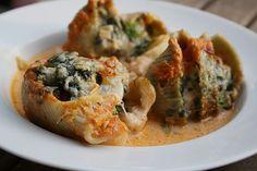 Nudeln (Muschelform) mit Lachs, Spinat und Fenchel, ein leckeres Rezept aus der…