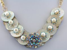 Mother of Pearl Necklace Button Necklace by ElsaWadesdesigns, $49.00