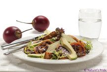 Salad with avocado & tamarillo. Click on the image for the recipe. Avocado Salad, Fruit Recipes, Beef, Image, Food, Meat, Ox, Ground Beef, Meals