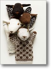 Pattern to make sheep puppets with Estonian colorwork.