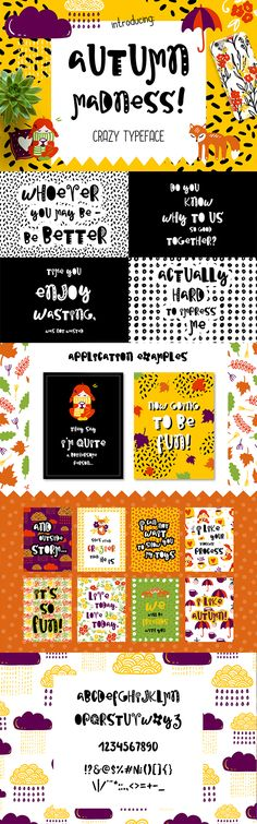 Autumn Madness Typefase by Qilli Autumn Madness Typeface! This funny font is perfect for cards, prints, logos, arrange illustration and decoration. It has letters,