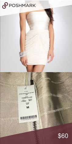 NWT BeBe strapless bandage dress Champagne color. Size medium, but runs a little small through the chest bebe Dresses Mini