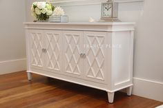 "BACK IN STOCK due to popular demand – ""Southport"" is a stunning handmade French Hamptons Buffet / Sideboard / Cabinet with stunning modern chrome handles. This 4 door buffet has an extraordinary raised diamond pattern on the door front and a single centred shelf. Comes in either WHITE or BLACK. Please send us an e-mail with the colour you want after you purchase. Soft closing hinges on all 4 doors are a further testament to the …"