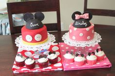 Mickey/Minnie Mouse Cakes... super cute for twins or a joint birthday party!!!