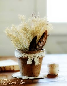 DIY Brown Paper Flower Pot Tutorial via KnickofTime.net