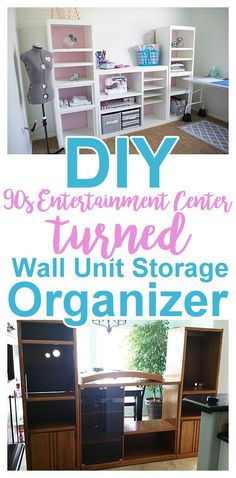 DIY Craft Room Wall Storage Organizer Unit Furniture Makeover Project Tutorial {from a Oak Entertainment Center!} - Office Inspiration - makeover diy before and after entertainment center Wall Organization, Wall Storage, Craft Storage, Storage Ideas, Do It Yourself Furniture, Do It Yourself Projects, Diy 90s, Oak Entertainment Center, Entertainment Furniture