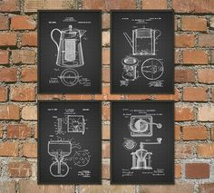 Coffee Making Patent Print Set of 4  Breakfast by QuantumPrints