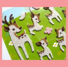 Cute Bambie Deer Flower DIE CUT Felt Sticker Beige | eBay