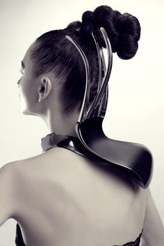 Sculptural Neckpiece with sleek contoured design - futuristic fashion; wearable art // Hanwen Shen
