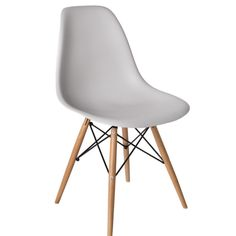Light Grey Cairo chair with blonde wood base. Our Cairo Chair is signature mid-century modern. This timeless moulded plastic dining chair is designed for comfort, durability and style. Its clean, simple form cradles the body while the waterfall edge and deep seat pocket relieves pressure on the legs and thighs. Made from recyclable, ecologically friendly ABS plastic, in white, black, grey and light grey, with your choice of chrome, gold, matte black or wood (blonde or brunette) bases.