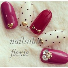 Red & White nail