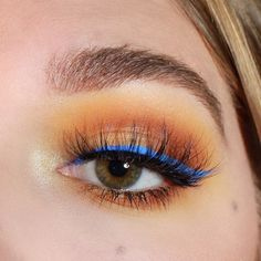 """Blue and yellow go so well together  @luxylash in Homegirl  @limecrimemakeup Venus II """"Mustard, Mud, Fly"""" @wetnwildbeauty MegaLast Liquid Liner in blue"""