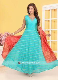 Resham and Zari Work Anarkali Suit Anarkali Gown, Anarkali Suits, Lehenga, Designer Anarkali, Designer Kurtis, Light Blue Dresses, Suit Fabric, Indian Designer Wear, How To Dye Fabric