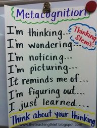 anchor chart METACOGNITION and sentence stems  Re-Pinned by Penina Penina Rybak MA/CCC-SLP, TSHH CEO Socially Speaking LLC YouTube: socialslp Facebook: Socially Speaking LLC www.SociallySpeakingLLC.com Socially Speaking™ App for iPad:  http://itunes.apple.com/us/app/socially-speaking-app-for/id525439016?mt=8