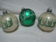 Vtg Shiny Brite Glass Xmas Ornaments LOT OF 3-CHRISTMAS STOCKINGS STENCIL