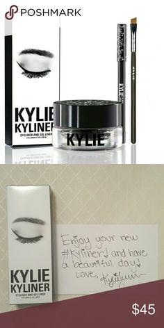 Kylie Cosmetics Black Kyliner Black | Kyliner Kit  Contains: 1 creme gel eyeliner (0.11 fl oz./ 4.00 grams), 1 pencil eyeliner (net wt./ poids net.04 oz./ 1.2g) and 1 full-size synthetic small angled brush. Kylie Cosmetics Makeup Eyeliner
