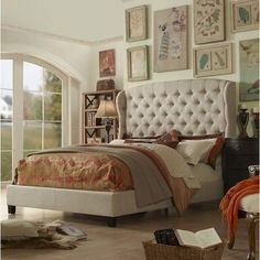French style modern #tufted and upholstered #platform bed