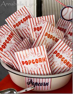 Ever been to a baseball game and not seen popcorn? Me either. Perfect addition to a ballpark themed throw down!