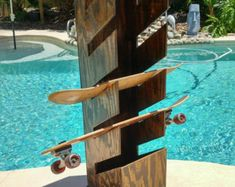 Handmade, wall mountable storage system for your surfboards, skateboards, wake birds, snowboards, and any other board you want to store. Standard order holds 3 or 4 boards depending on if you store one on top. These are custom made so contact me with any request or questions.
