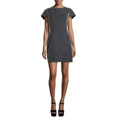 Michael Kors Collection Pearl-Embellished Short-Sleeve Sheath Dress ($3,205) ❤ liked on Polyvore featuring dresses, black, short sleeve sheath dress, embellished dress, pearl dress, fitted sheath dress and michael kors dresses